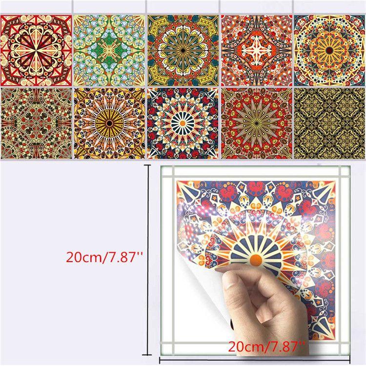 25Pcs Self Adhesive Bohemia Simulation Ceramic Tiles DIY Kitchen ...
