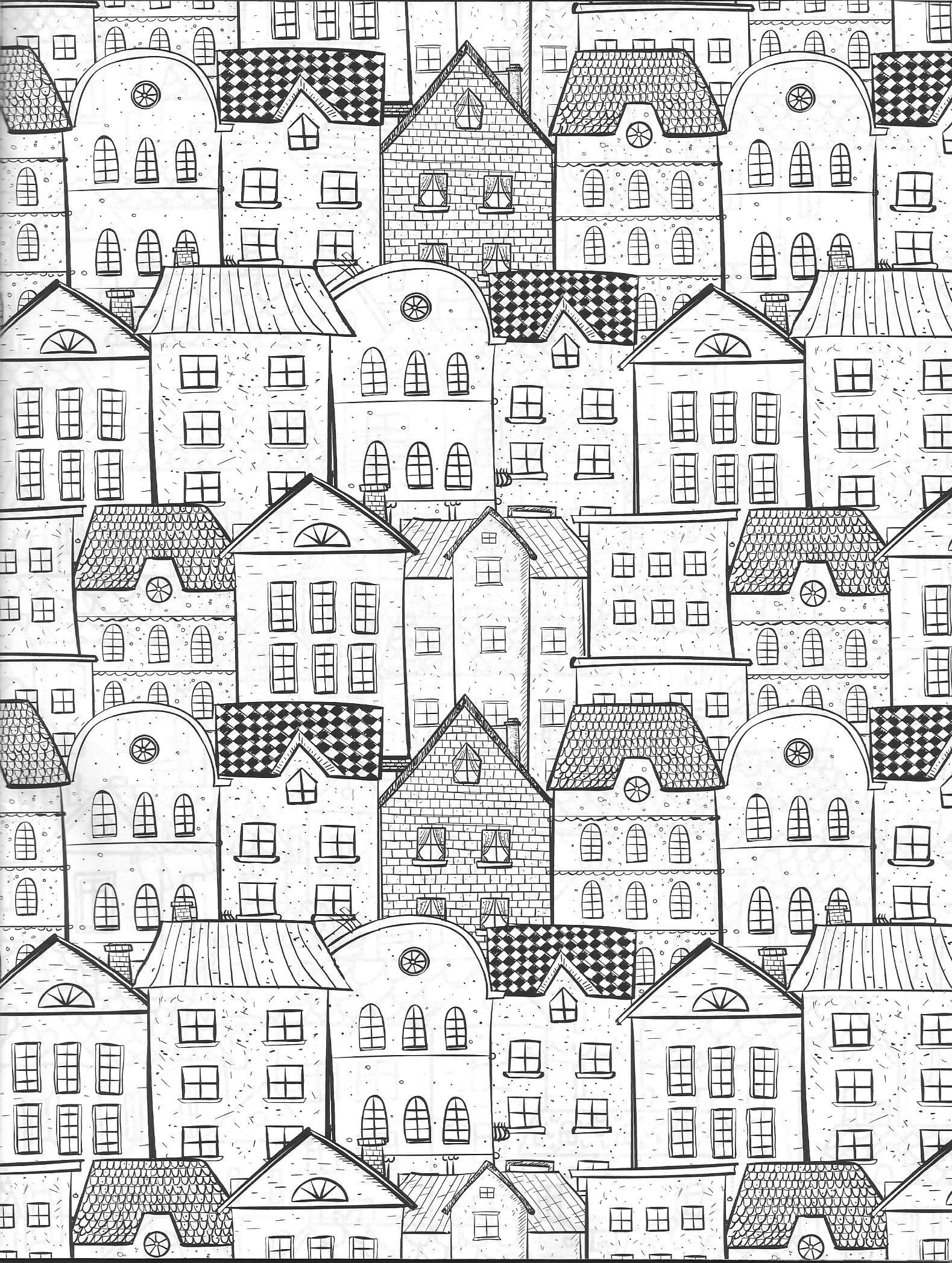 Vida Simples Cidade Dos Sonhos Cityscape Drawing Doodle Art Drawing Colouring Pages