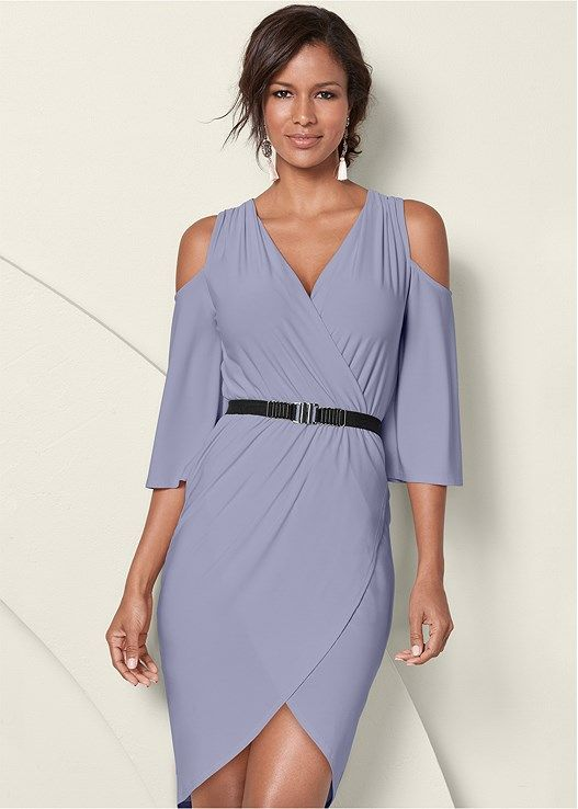 3e4f0b0f76 Cold shoulder dress features a belt for a party-ready look. Surplice  neckline and surplice hem creates a flirty look.Sizes  XS (2)