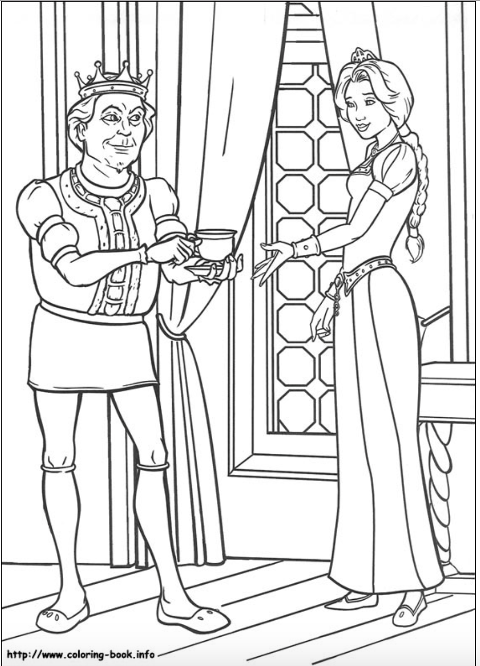 Princess Fiona and her Father King Harold coloring page from Shrek