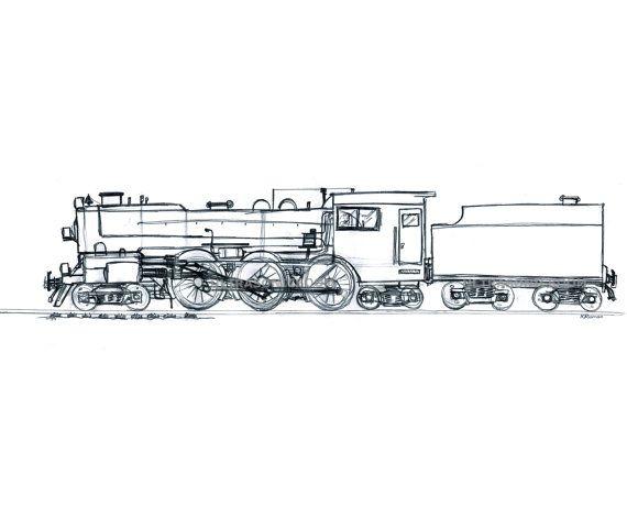 Steam Locomotive Steam Train Engine Print Of My Original
