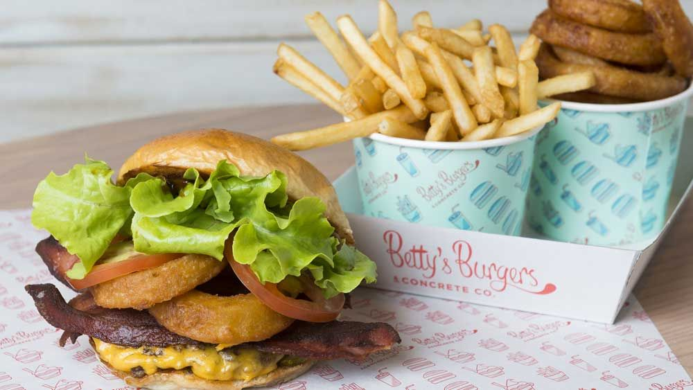 Betty's Burgers barbecue burger with onion rings and bacon ...