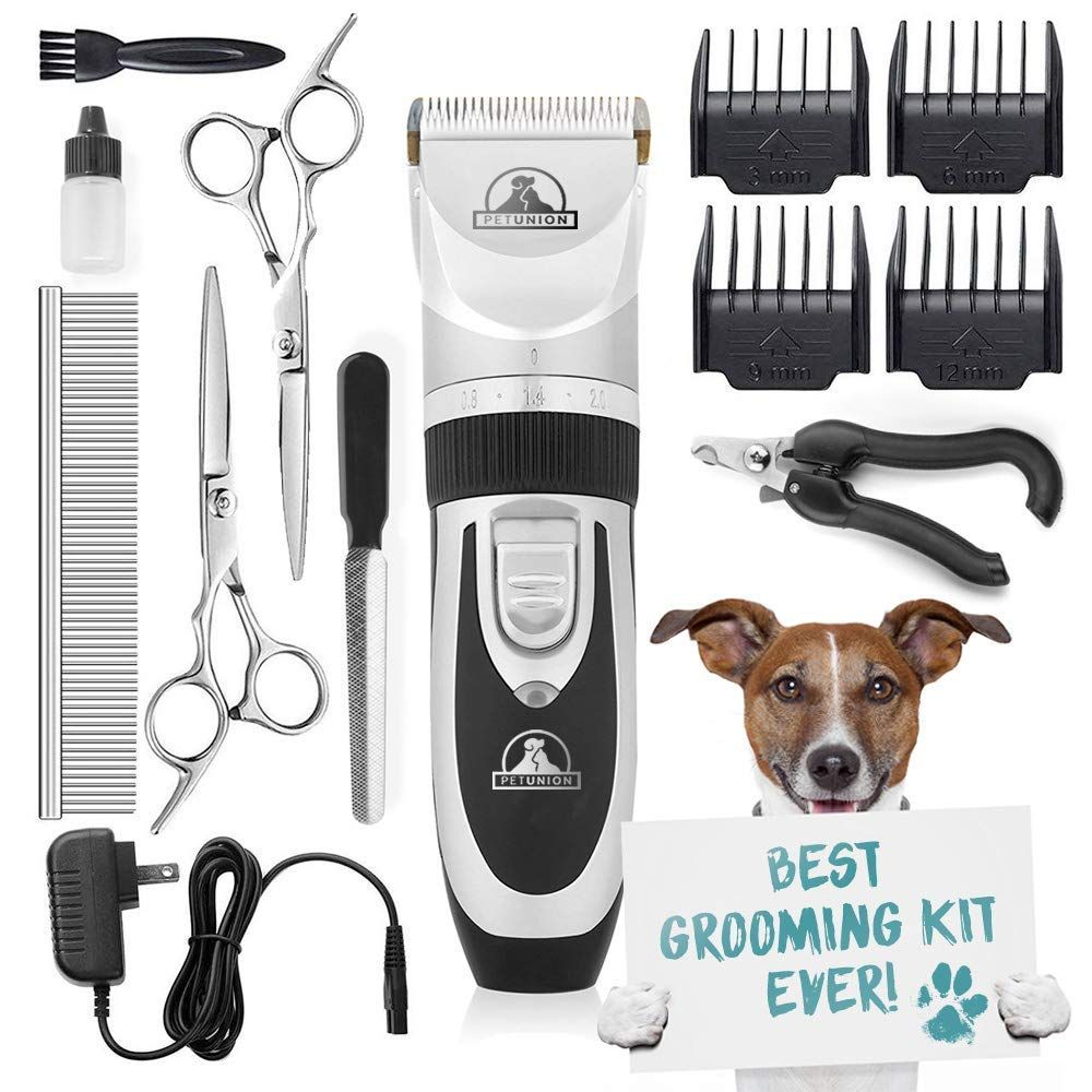 Pet Union Professional Dog Grooming Kit Rechargeable Cordless Pet Grooming Clippers Andamp Complete Set Of Dog Grooming Tools Low Nois Dog Grooming Tools Grooming Kit Pet Grooming