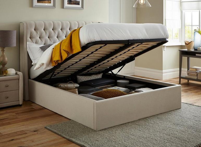 Deacon Upholstered Ottoman Bed Frame In 2020 Ottoman Bed