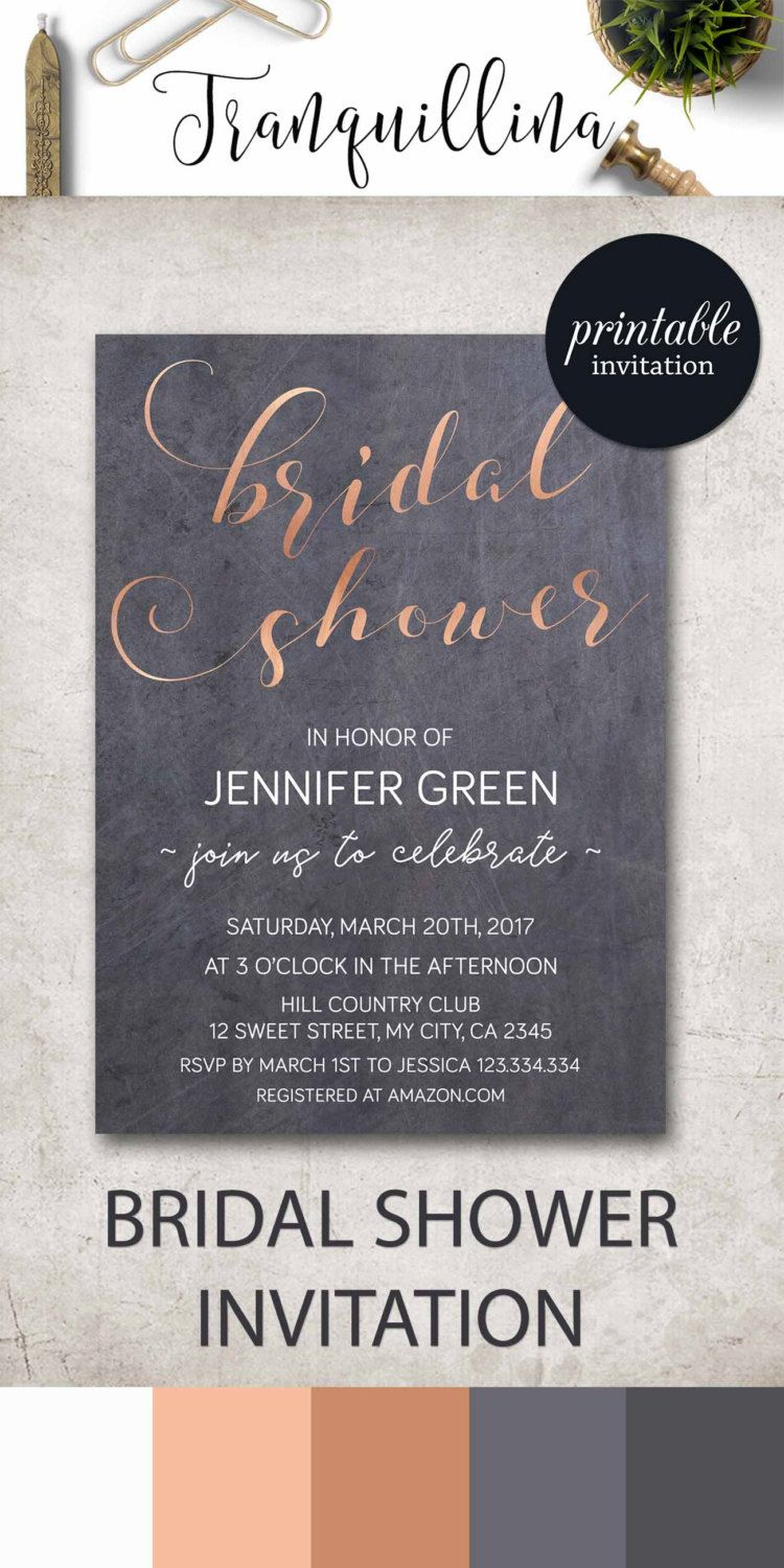 Modern Bridal Shower Invitation Copper Bridal Shower