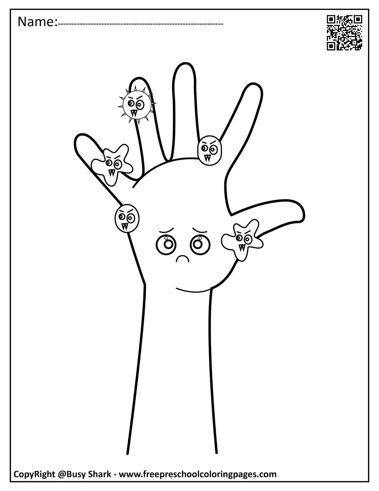 Set Of Hand Washing And Germs Coloring Pages In