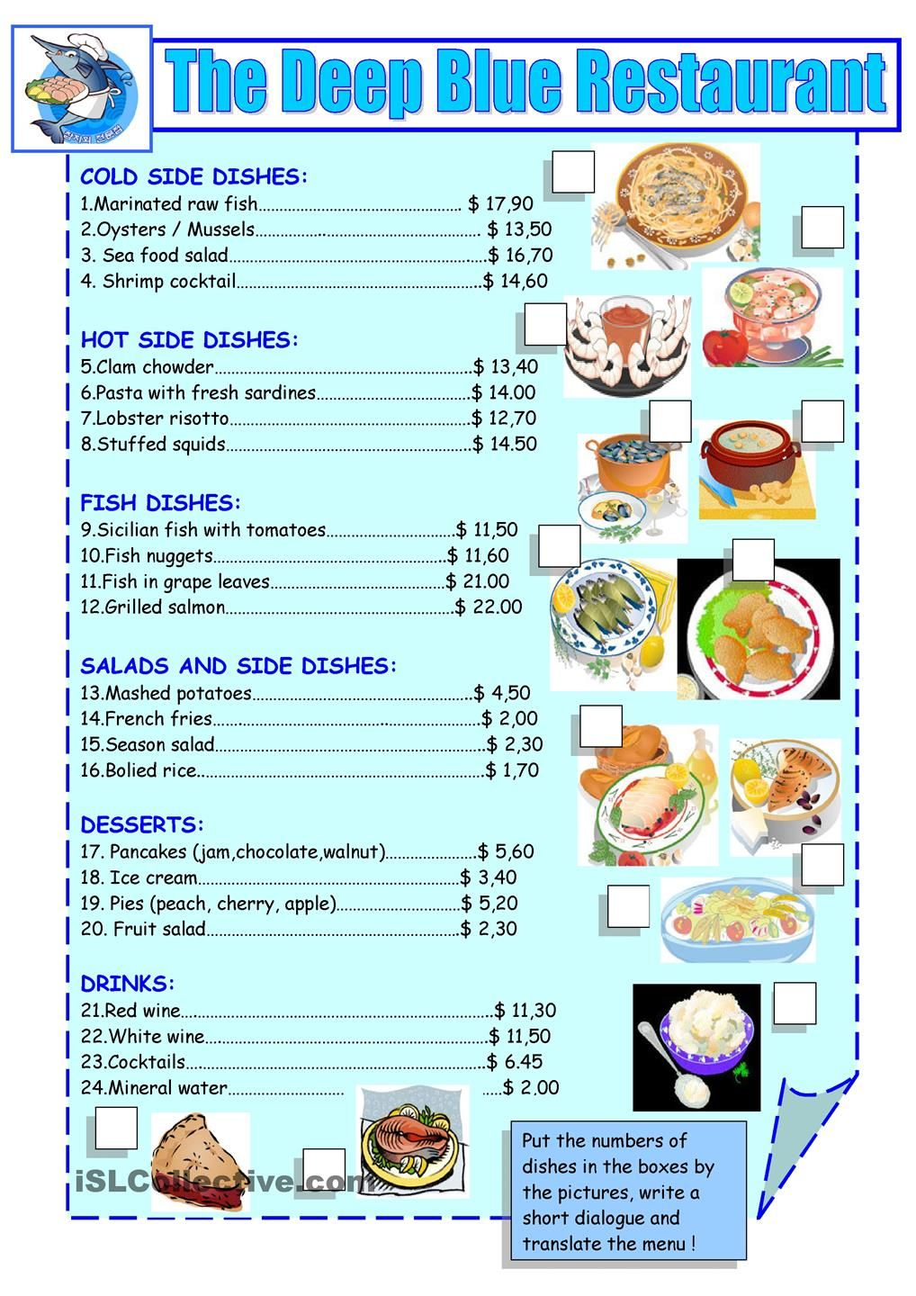 printable restaurant menu - Google Search | for the classroom ...