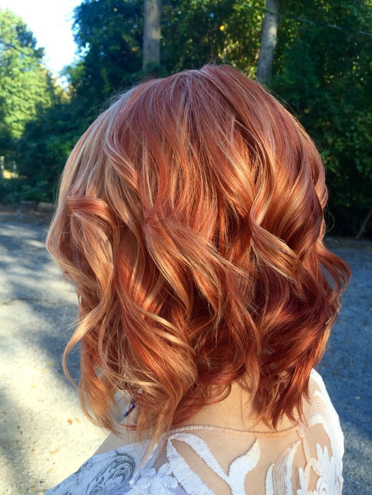 Cute Red Hair Color With Blonde Highlights Oh Hair Pinterest