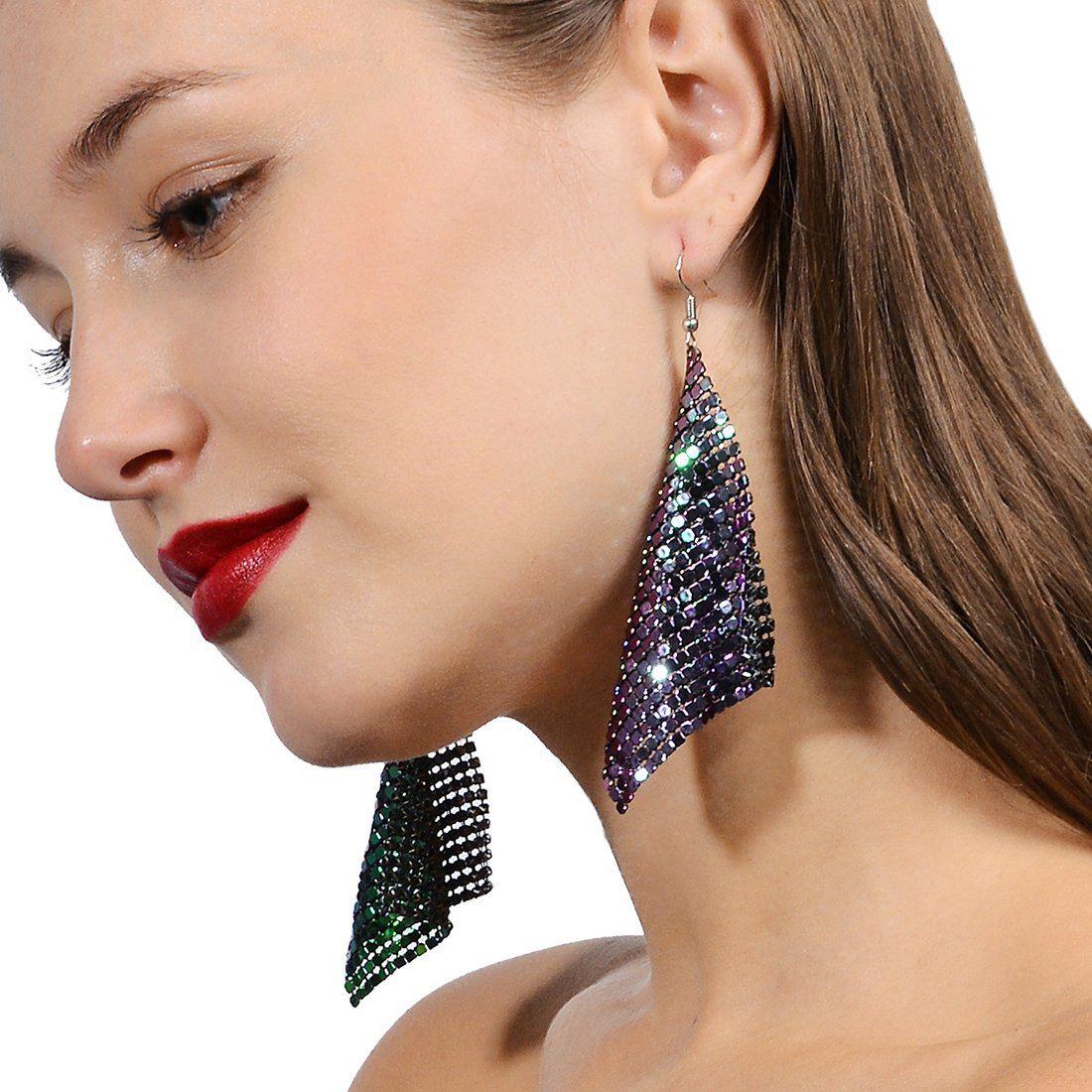 Sequin Mesh Tassel Dangle Earrings Fashion jewelry For Women Girls