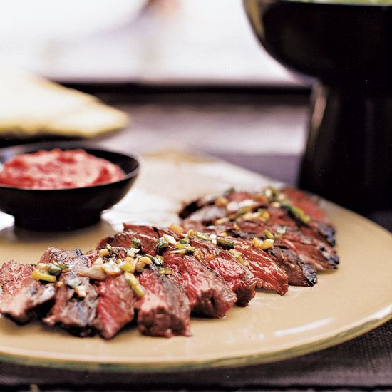 Grilled Korean-Style Skirt Steak | This recipe is a twist on a traditional Korean short-rib dish called kalbi kui. I prefer using skirt steak because it is much easier than butterflying short ribs. The sweet Korean chili paste, called kochujang, is available at Asian markets.