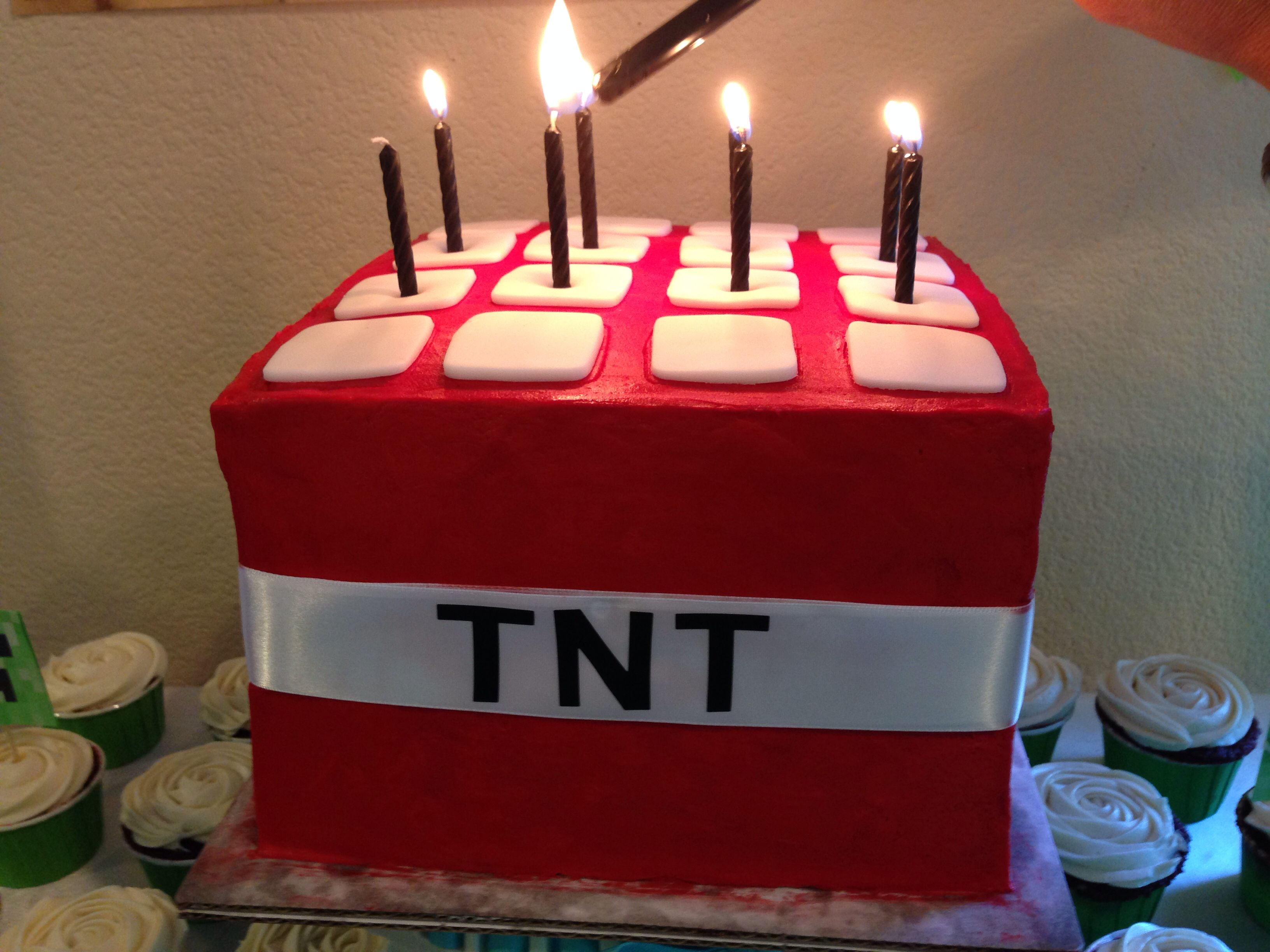 Minecraft Tnt Cake With Images Minecraft Birthday Cake