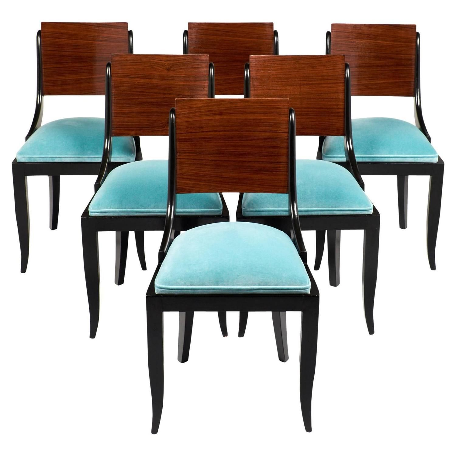 art deco period dining chairs set six - Set Of Six Dining Room Chairs