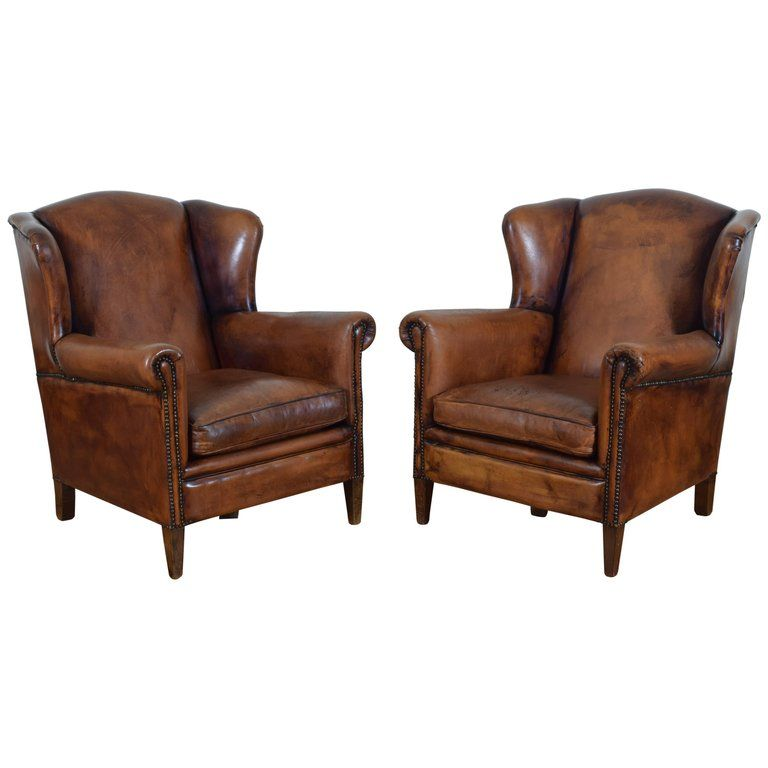 Best Pair Of English Cognac Colored Leather Wing Chairs From 640 x 480