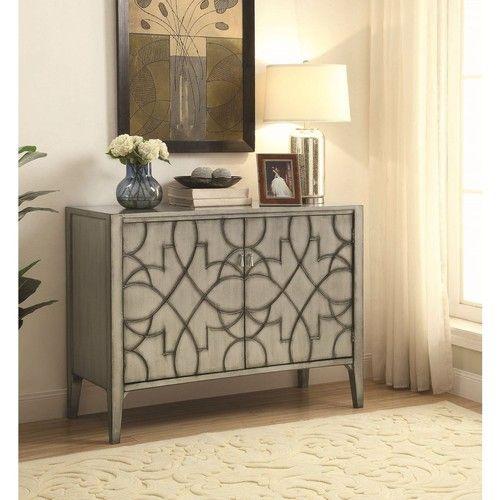 Coaster Helena Grey Carved Accent Cabinet Coaster Fine Furniture