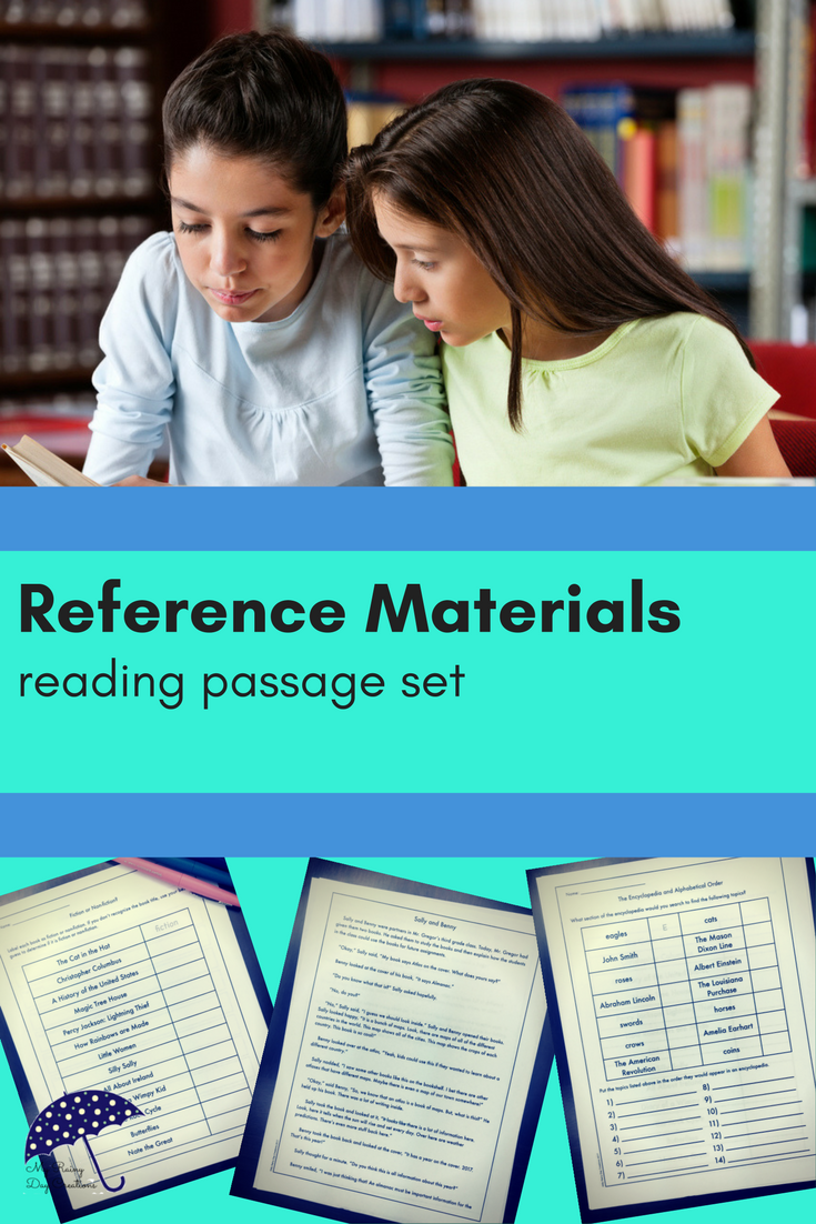 Reading Passage Set: Reference Materials | Common Core 3rd