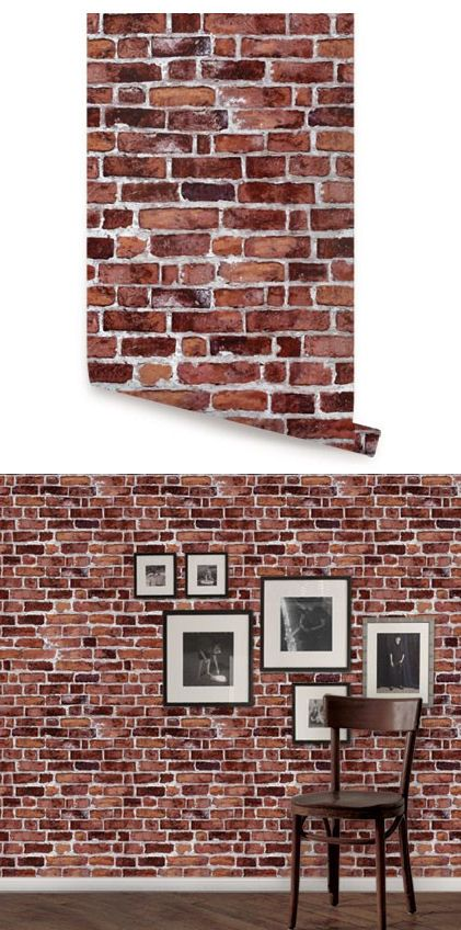 brick red peel and stick wallpaper - wall sticker outlet | peel and