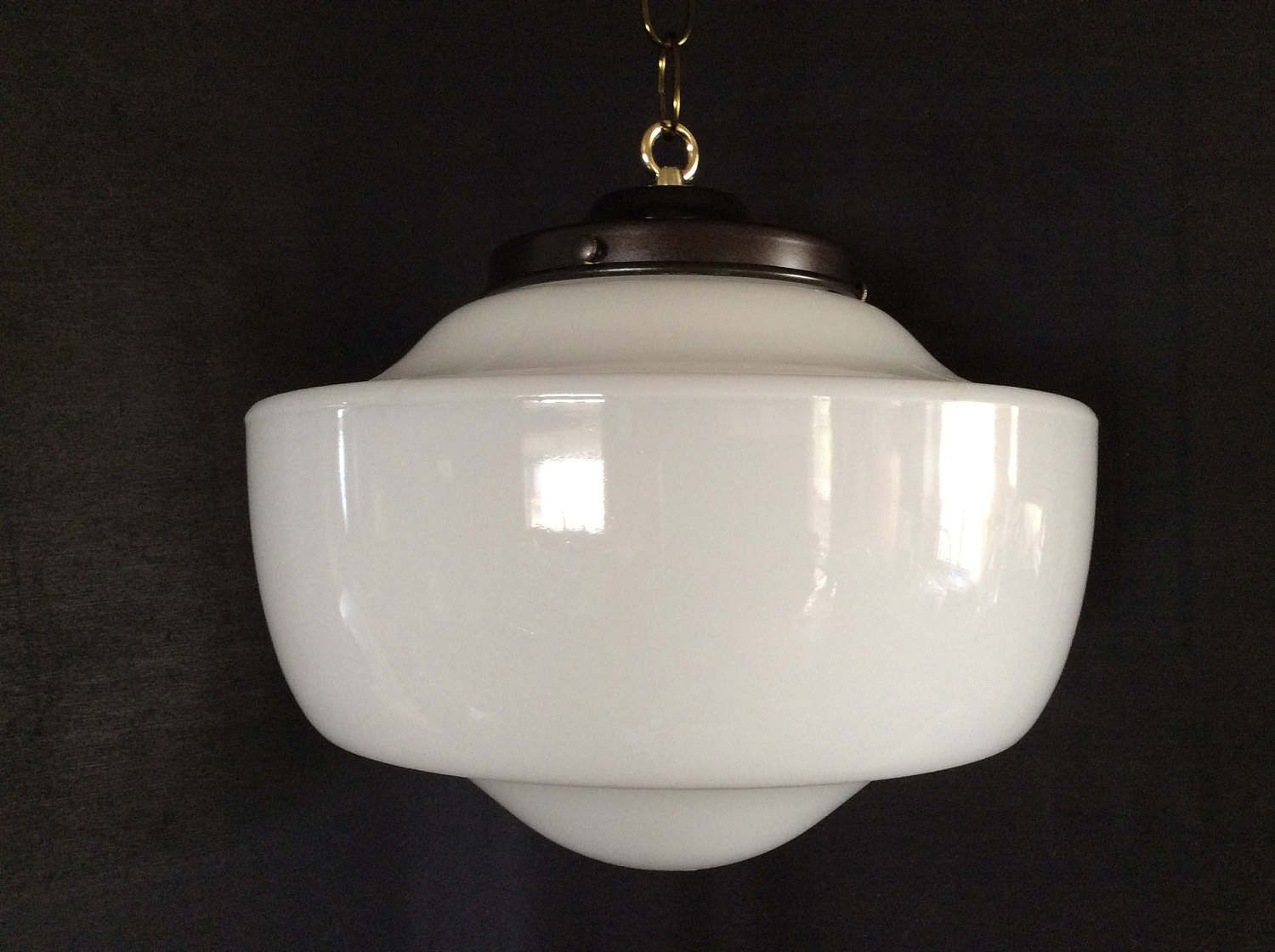 Vintage hanging church industrial school house pendant light fixture vintage hanging church industrial school house pendant light fixture 1920s milk glass arubaitofo Gallery