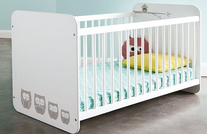 Cuna moderna para bebé color blanco con búho | Dormitorios y muebles ...