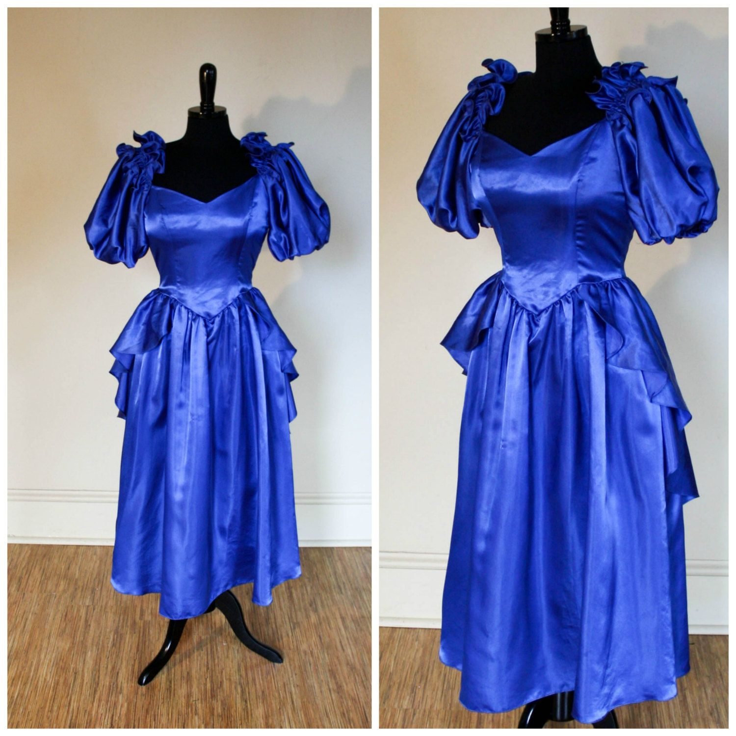 Vintage 1980s Royal Blue Prom Dress Gown Peplum Puff