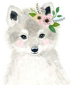 Watercolor fox in grey tones, Woodland nursery, Animal Paintings, fox cub, Bear, Deer, watercolor animal, kids posters, prints, woodland