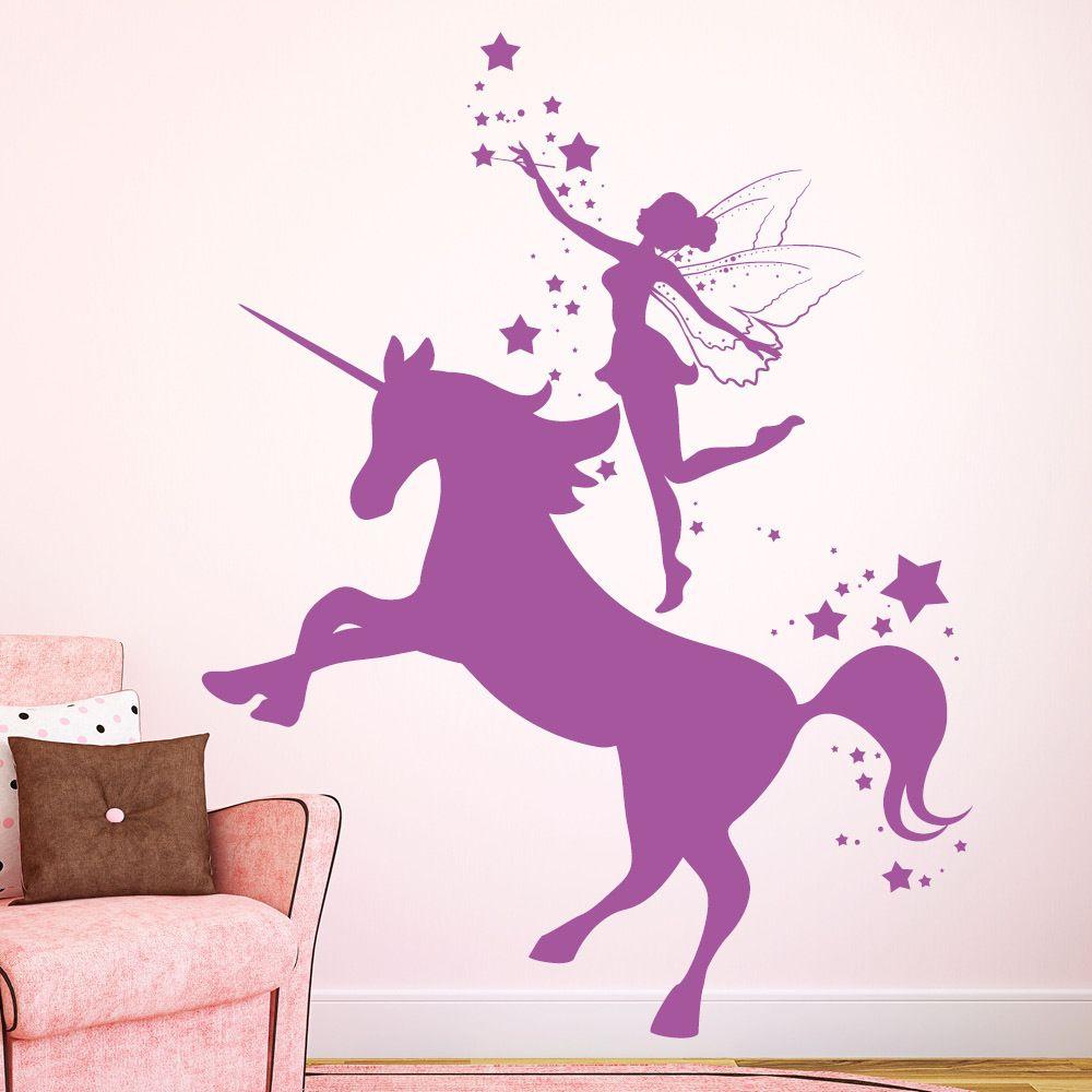 Fee Auf Einem Einhorn Mit Sternen Kreative Kunstwerke Scherenschnitt Einhorn Malerei Schlafzimmer Wande