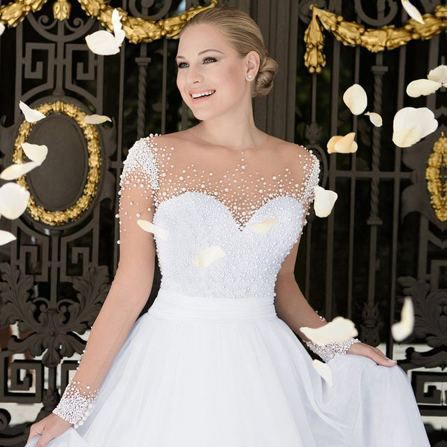 Elegant White Long Sleeve Wedding Gowns Pearls Tulle Country Style Bridal Dresses 2016 A Line Alibaba China Brazil Retail