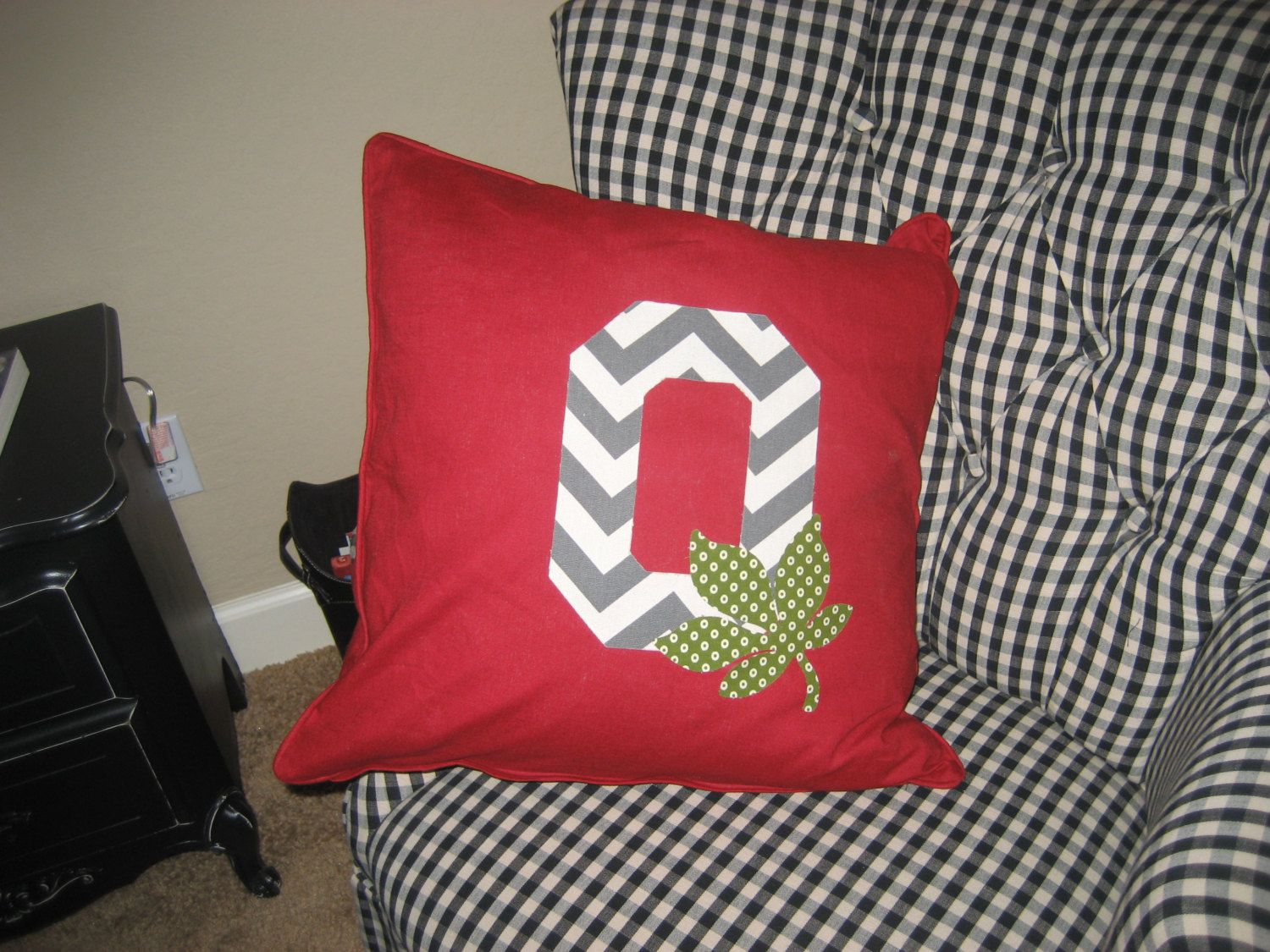 Red Ohio State Buckeyes Pillow With Grey By Highstreetsignco