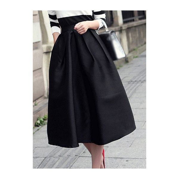 cb463f55f7ab Rotita Vintage Black High Waist Flared Midi Skirt found on Polyvore  featuring polyvore, fashion, clothing, skirts, black, high waisted flare  skirt, ...