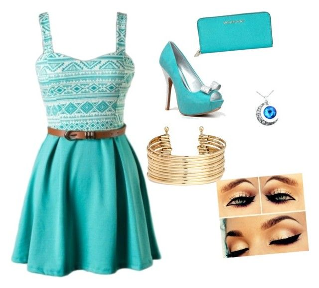"""""""turquoise"""" by directionerandmendesarmy101 ❤ liked on Polyvore featuring Qupid, Michael Kors and H&M"""