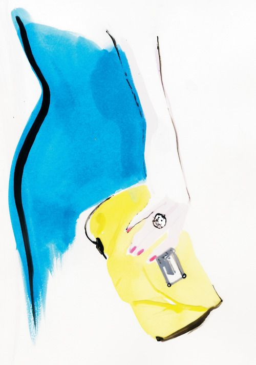 Marc by Marc Jacobs clutch. Ilustración por David Downton.