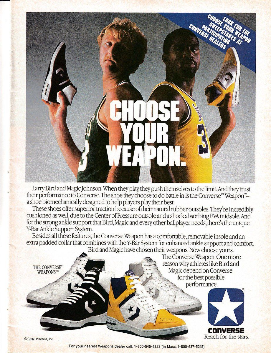 fbd5c0399555 Choose your weapon. Larry Bird and Magic Johnson for Converse