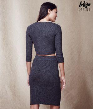 Tokyo Darling 3/4 Sleeve Rib-Knit Cropped Sweater -