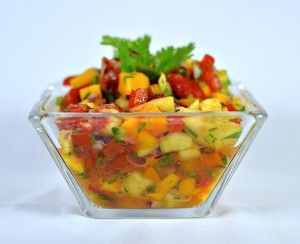 Tropical fruit salsa with tequila.