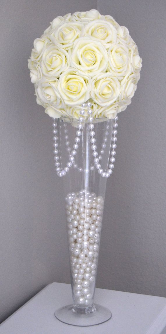 Ivory Flower Ball With Draping Pearls Ivory Wedding