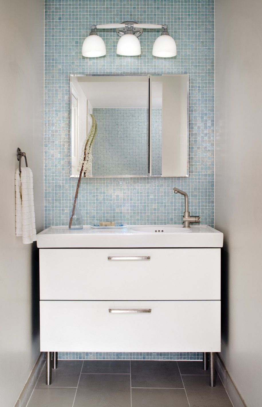 wonderful small bathroom decoration with light blue glass tile