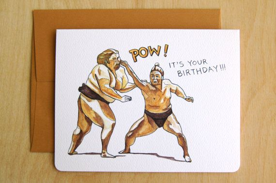 Birthday pow brown sumo funny birthday card by gotamago on etsy birthday pow brown sumo funny birthday card by gotamago on etsy bookmarktalkfo Gallery
