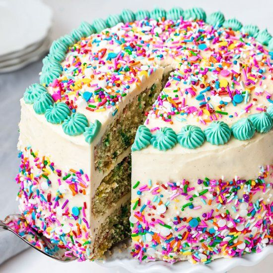 Vegan Funfetti Layer Cake  #food #foodie #foodphotography #yummy #delicious #foodblogger #foodlover #foodgasm #dinner #healthyfood #foodies #lunch #restaurant #tasty #eat #healthy #homemadenbsp #breakfast
