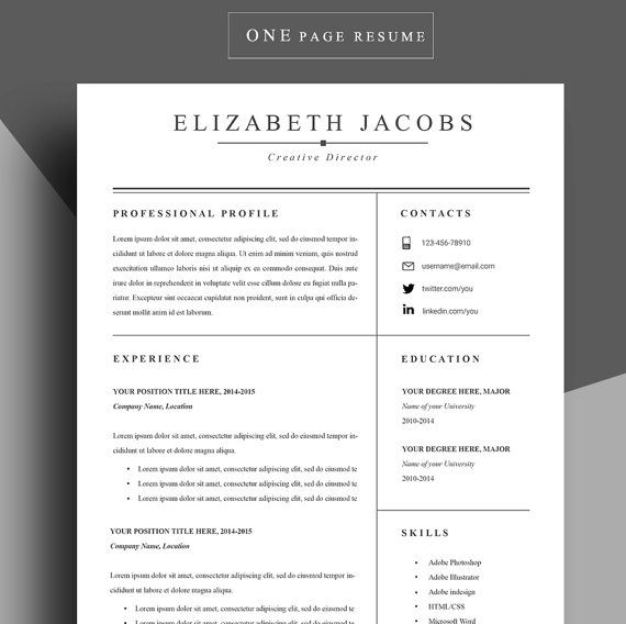Resume template Cv template Professional resume by ChedonResume - one page resume template word