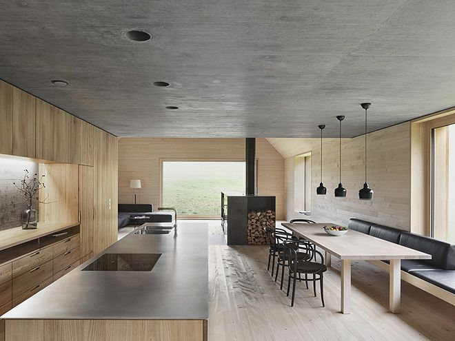 Wohnzimmer Der Wohn Und Essbereich In Diesem Holzhaus Sieht Edel Aus Handgearbeitete Beton An