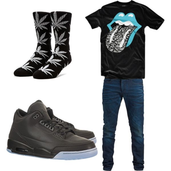 A fashion look from March 2015 featuring Lab tops and HUF socks. Browse and shop related looks.