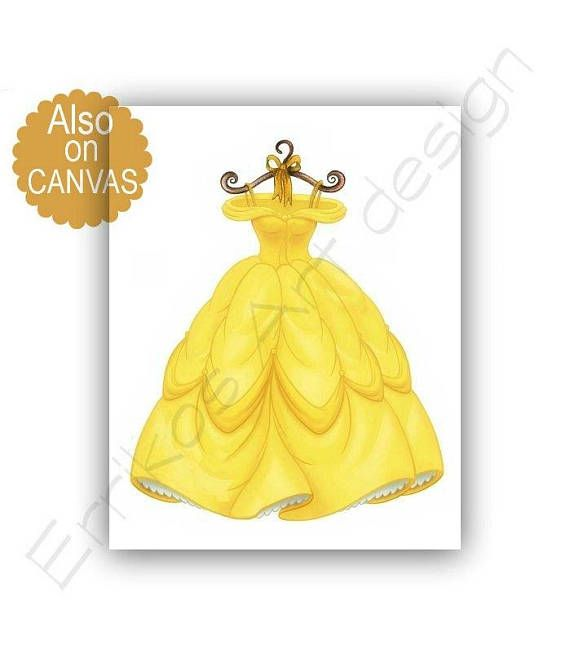 Princess Belle Yellow Dress Wall Art, Baby Girl Nursery, Disney ...