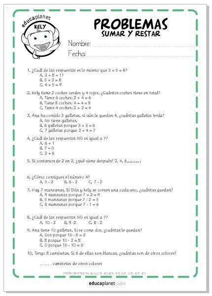 Ejercicios sumar restar, matemáticas fichas GRATIS Infantil y ...