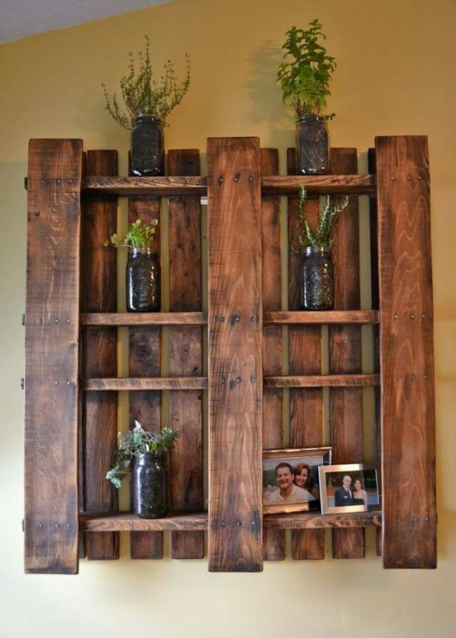 Stained Pallet Shelves