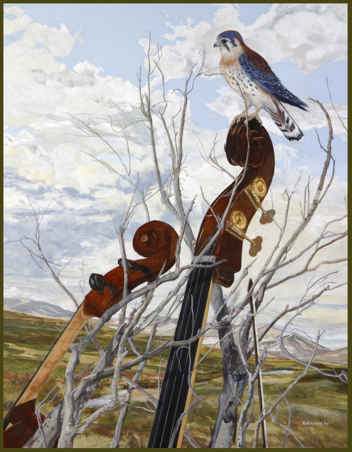 R. Nordyke painting Orchestral Con Brio I see kestrels on