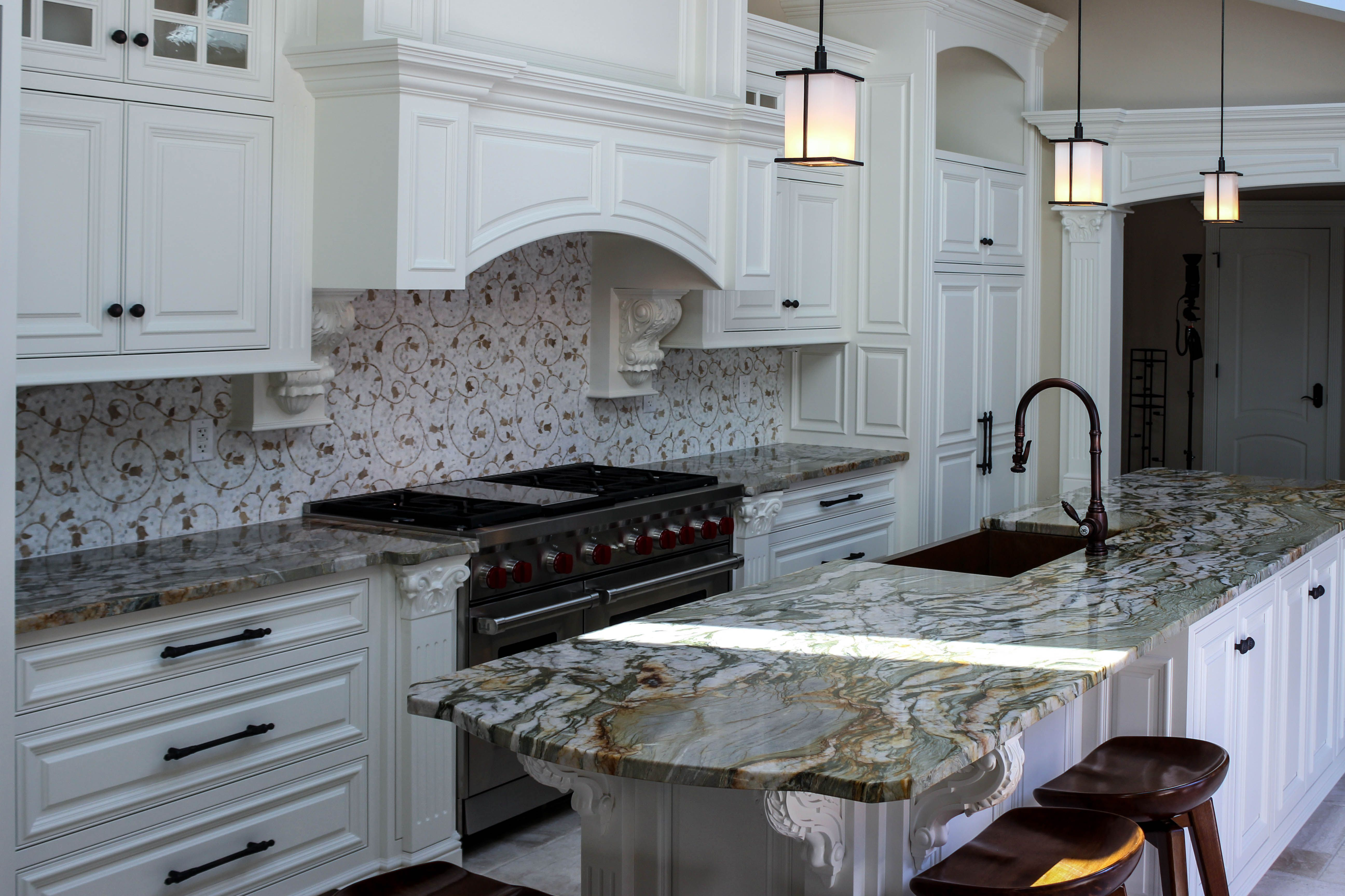 Custom Fabricated Green, Orange And White Granite Countertop For A Home In  Pittsburgh, PA