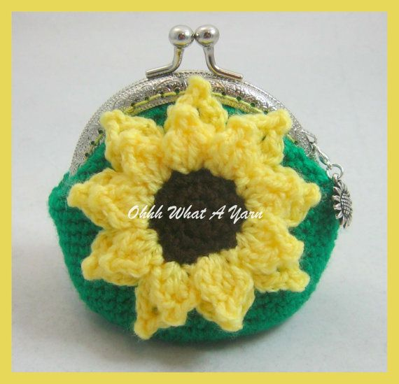 5. Crochet green and yellow sunflower coin purse, silver-tone sunflower charm,kiss clasp, spotty fabric lining