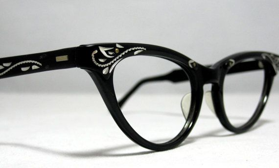 Vintage Cat Eye Glasses Frames. Black and Silver with Etched Designs ...