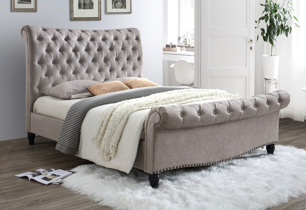 Lark Mink Super King Size Bed Frame Velvet Upholstered Bed