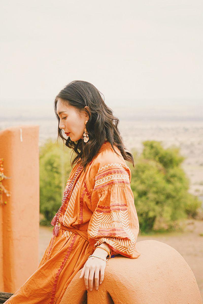 Orange Boho Style Dress summer outfits|boho summer|beach wedding|beach outfit|beach outfits