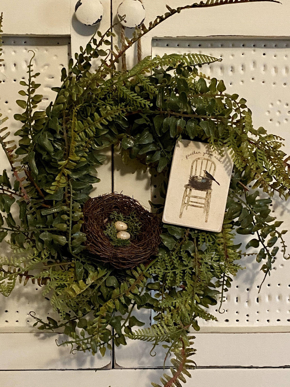 Wreath Green Wreath Fern Wreath Front Door Wreath Farmhouse Wreath Spring Wreath Spring Decor In 2020 Spring Wreath Irish Decor Green Wreath